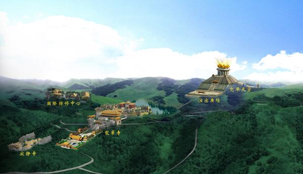 绍兴市旅游业再现大手笔。记者获悉,作为柯桥区重点佛教文化旅游项目,投资十多亿元,历时8年艰苦建设的兜率天宫景区,将于今年10月1日试开放。   据了解,以佛教文化为主题的旅游景区,在国内并不少见。但以包容、和谐、快乐为理念的兜率天宫景区,全方位展现及诠释人间佛教的弥勒净土,这在国内外还是首创。   兜率天宫景区规划面积1300亩,南北纵跨3个山峰,分兜率天宫及龙华寺两大主体建筑,总建筑面积近10万平方米,中轴线长达2500米。   景区负责人介绍,景区从南到北的两个山头,由依山而建的会稽山龙华寺南